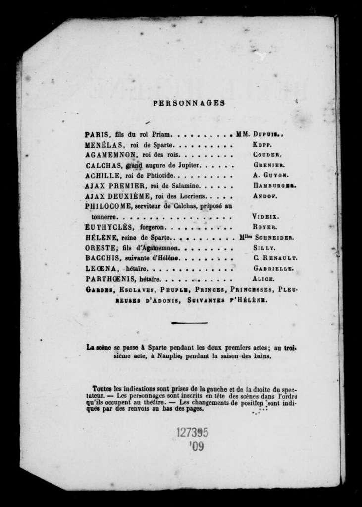 Belle Hélène. Libretto. French