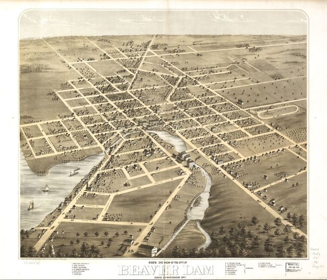 Bird's eye view of the city of Beaver Dam, Dodge Co., Wisconsin 1867.
