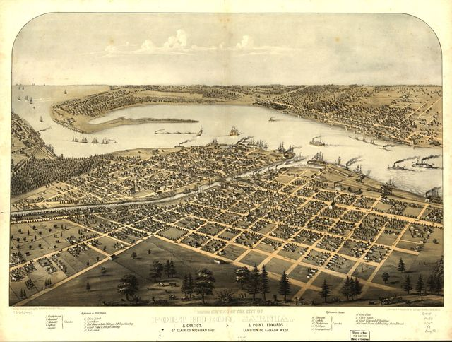 Birds eye view of the city of Port Huron, Sarnia & Gratiot, St. Clair Co., Michigan 1867 & Point Edwards, Lambton Co., Canada west.