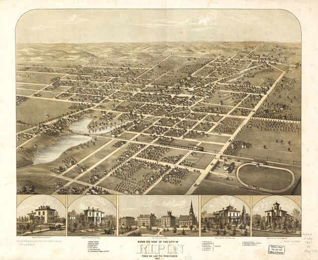 Birds eye view of the city of Ripon, Fond du Lac Co., Wisconsin 1867.