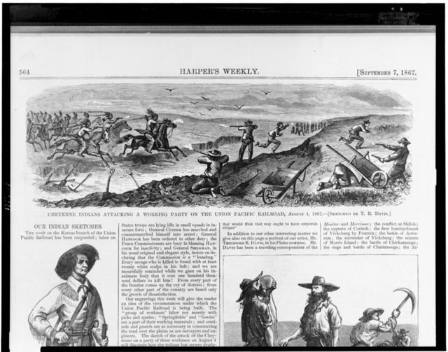 Cheyenne Indians attacking a working party on the Union Pacific Railroad, August 4, 1867 / sketched by T.R. Davis.
