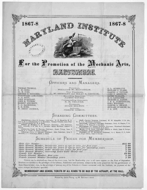[Circular of the school listing officers, courses of study and terms of admission] Baltimore: Printed by James Young [1867].