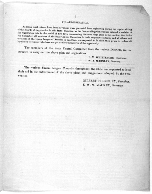 Circular. Rooms of State central committee, Charleston 21st October, 1867. At a meeting of the State central committee and the presidents or delegates of the Union league of America, held in the city of Columbia, on the 16th and 17th insts., the