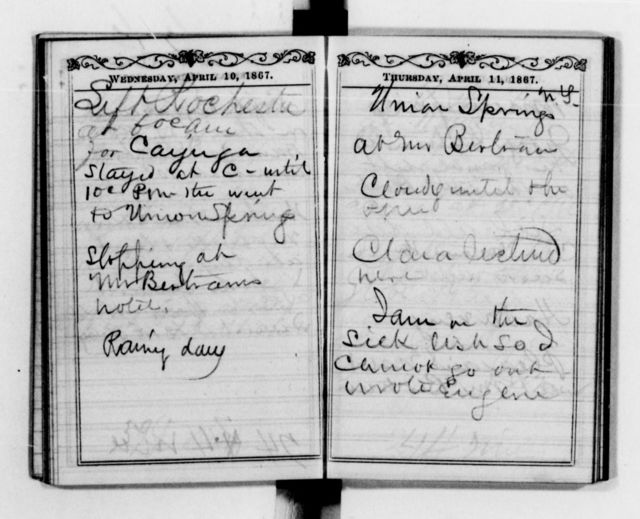 Clara Barton Papers: Diaries and Journals: Diarists other than Barton; Atwater, Dorence, 1867