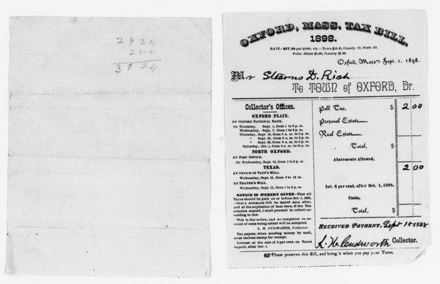 Clara Barton Papers: Miscellany, 1856-1957; Financial and legal papers; Securities and investments; Taxes, 1867-1904