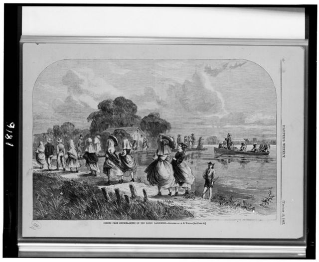 Coming from church--scene on the bayou Lafourche / sketched by A.R. Waud.