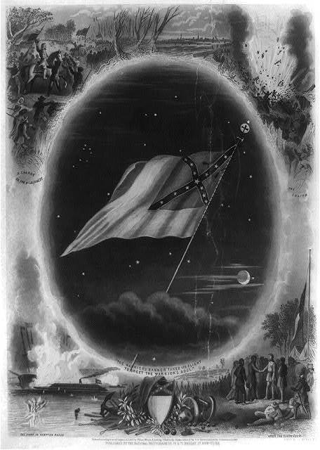 [Confederate flag surrounded by battle scenes] / Engd. by J. C. McRae, N.Y.