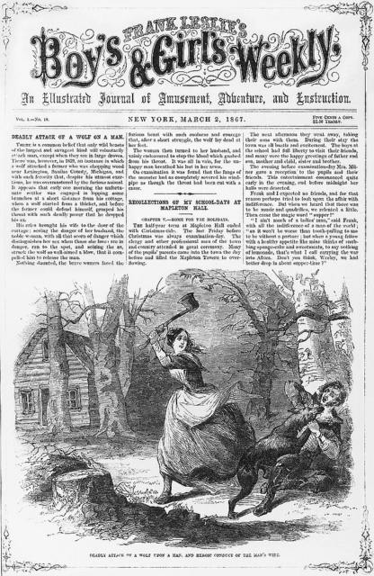 Deadly attack of a wolf upon a man, and heroic conduct of the man's wife