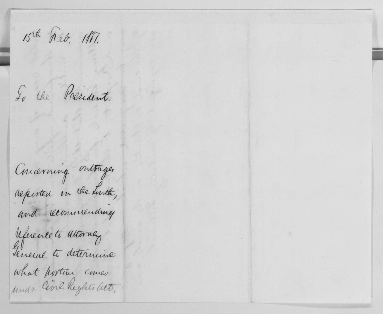 Edwin McMasters Stanton Papers: Correspondence, 1831-1870; 1867; 1867, Feb. 15-June 8