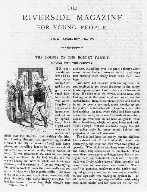[Frontis., t.p., and pages 145 to 149 from Riverside Magazine for Young People, vol. 1, no illus.]