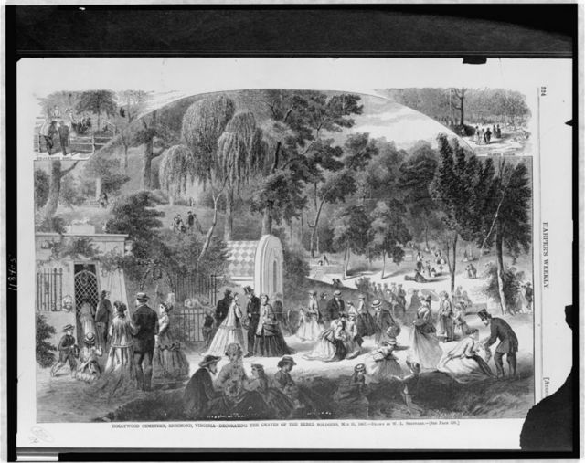 Hollywood Cemetery, Richmond, Virginia - decorating the graves of the rebel soldiers, May 31, 1867 / drawn by W.L. Sheppard.