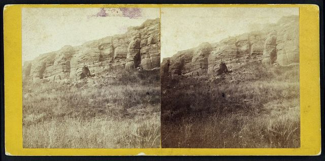 Indian hierglyphic rock on Smoky Hill River, Kansas, 15 miles north east of Fort Harker & 496 miles west of St. Louis, Mo.