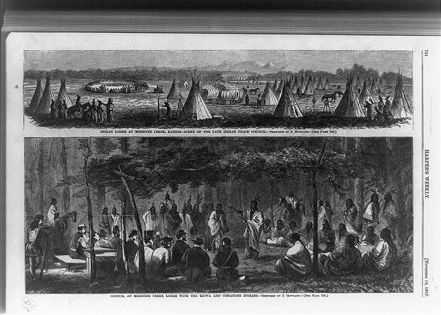 Indian lodge at Medicine Creek, Kansas--scene of the late Indian peace council Council at Medicine Creek lodge with the Kiowa and Comanche Indians / / sketched by J. Howland.