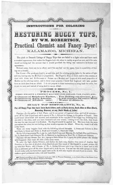 "Instructions for coloring and restoring buggy tops, by Wm. Robertson, practical chemist and fancy dyer! Kalamazoo, Michigan, ""Telegraph"" job print. 1866."
