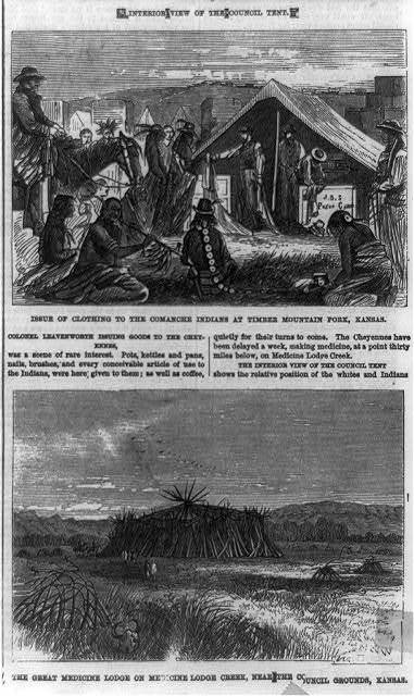 Issue of clothing to the Comanche Indians at Timber Mountain Fork, Kansas ; The Great Medicine Lodge on Medicine Lodge Creek, near the council grounds, Kansas