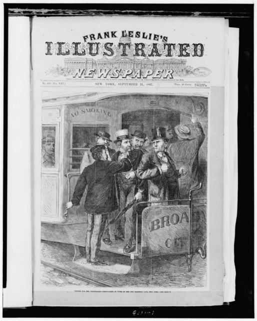 Lessons for the uninitiated - pickpockets at work on the city railroad cars, New York / F. Beard del.