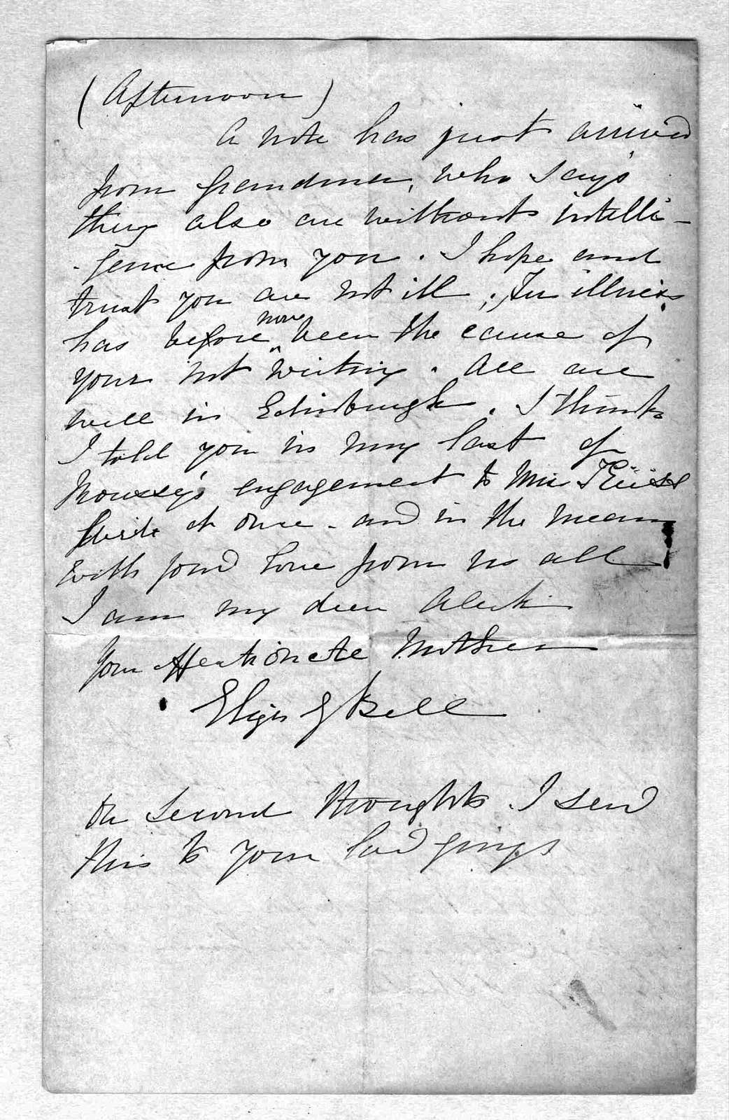 Letter from Eliza Symonds Bell to Alexander Graham Bell, January 24, 1867