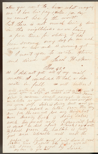 Letter from Jacob H. Murray and Sarah A. Murray to Uriah W. Oblinger, January 10, 1867