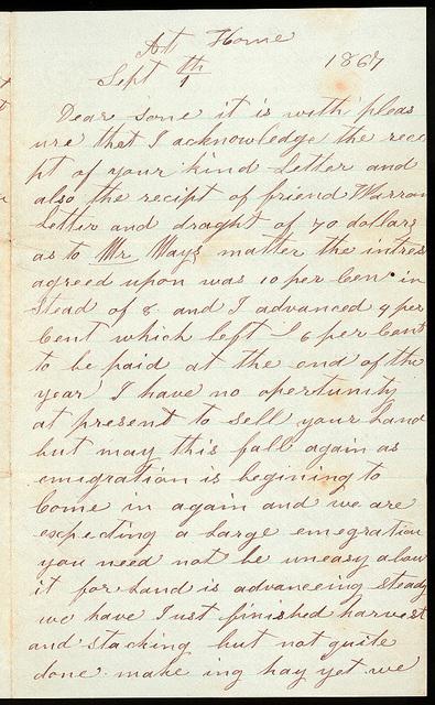 Letter from Samuel Oblinger to Uriah W. Oblinger, September 1, 1867