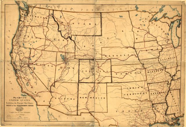 Map of part of the United States exhibiting the principal mail routes west of the Mississippi River.