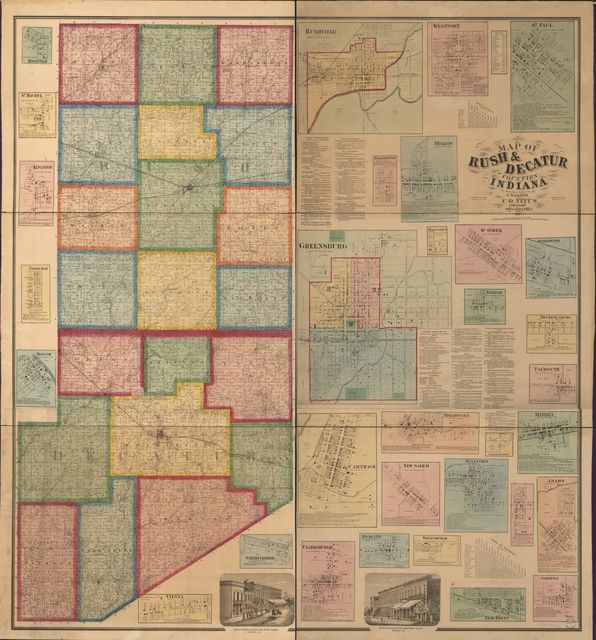 Map of Rush & Decatur counties, Indiana /