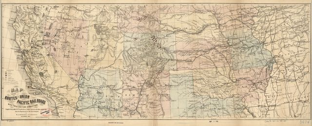 Map of the routes of the Union Pacific Rail Roads with their eastern connections, compiled from authorized explorations, public surveys, and other reliable data from the departments of the government, by W.J. Keeler, Civil Engineer, November, 1867.