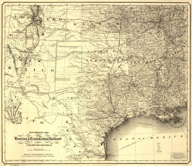 Map showing the Houston & Texas Central Railroad and its connections, prepared at Colton's Geographic Establishment, N.Y., 1867.