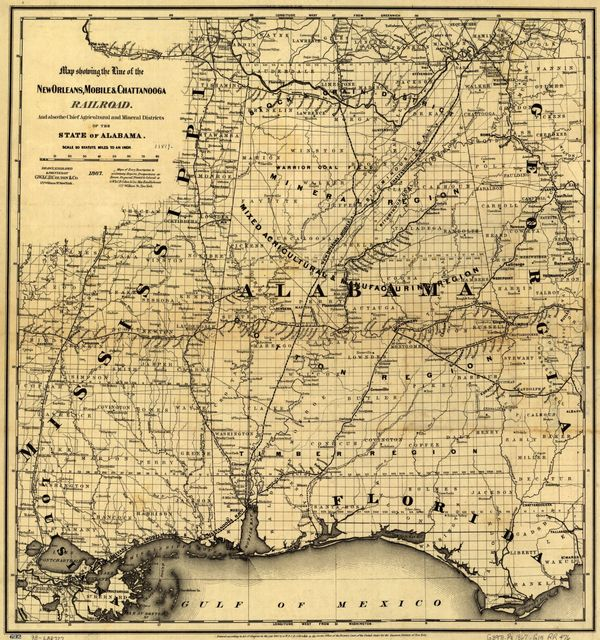 Map showing the line of the New Orleans, Mobile & Chattanooga Railroad, and also the chief agricultural and mineral districts of the state of Alabama.