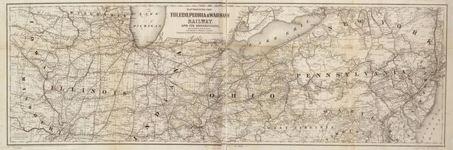 Map showing the Toledo, Peoria, & Warsaw Railway and its connections, 1867.