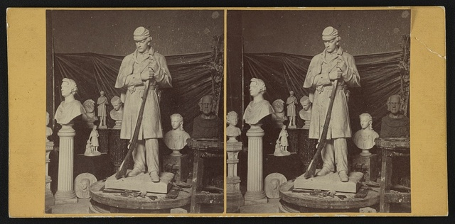 [Maquette of Union soldier for Roxbury Soldiers' Monument and other sculptures at the studio of Martin Milmore in Boston, Massachusetts]