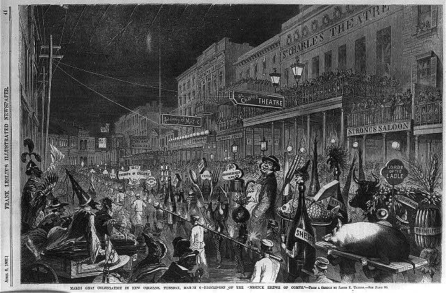 """Mardi Gras celebration in New Orleans, Tuesday, March 6 - Procession of the """"Mistick Krewe of Comus"""" [Epicurean floats]"""