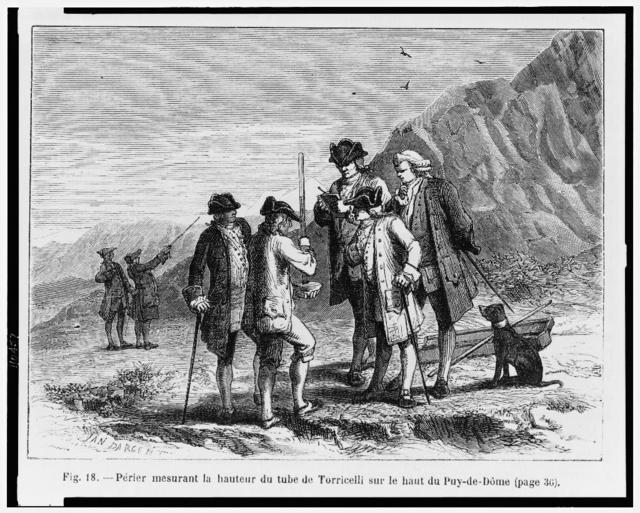 [Men carrying large barometer prove existence of barometric pressure by climbing the Puy de Dôme] / Yan Dargent.