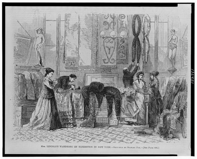 Mrs. Lincoln's wardrobe on exhibition in New York / sketched by Stanley Fox.