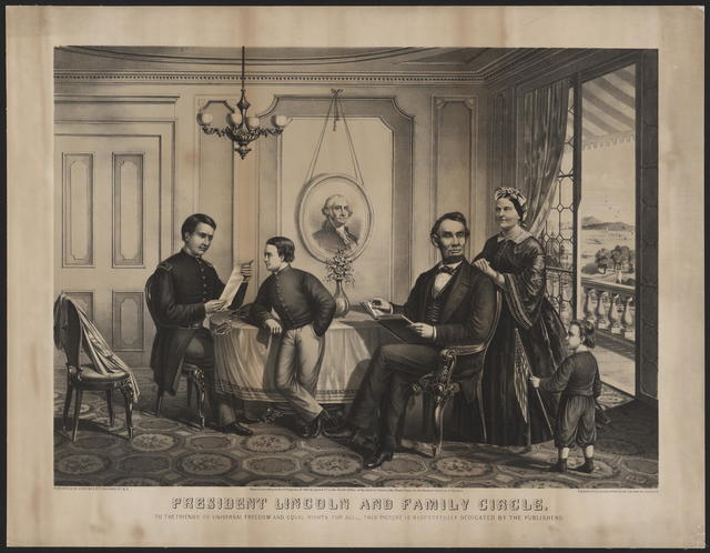 President Lincoln and family circle. The friends of universal freedom and equal rights for all; this picture is respectfully dedicated by the publishers.