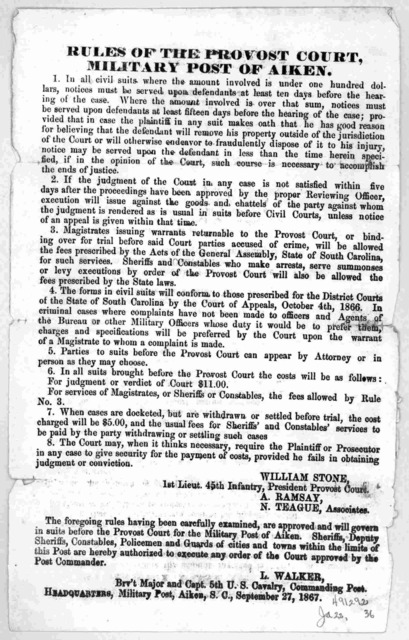 Rules of the Provost Court, Military post of Aiken ... September 27, 1867.