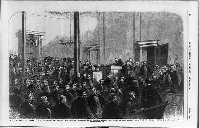 Scene at the U.S. District Court, Richmond, Va., Monday, May 13th - Mr. Jefferson Davis brought before the court by Gen. Burton, on a writ of habeas corpus / from a sketch by our special artist.