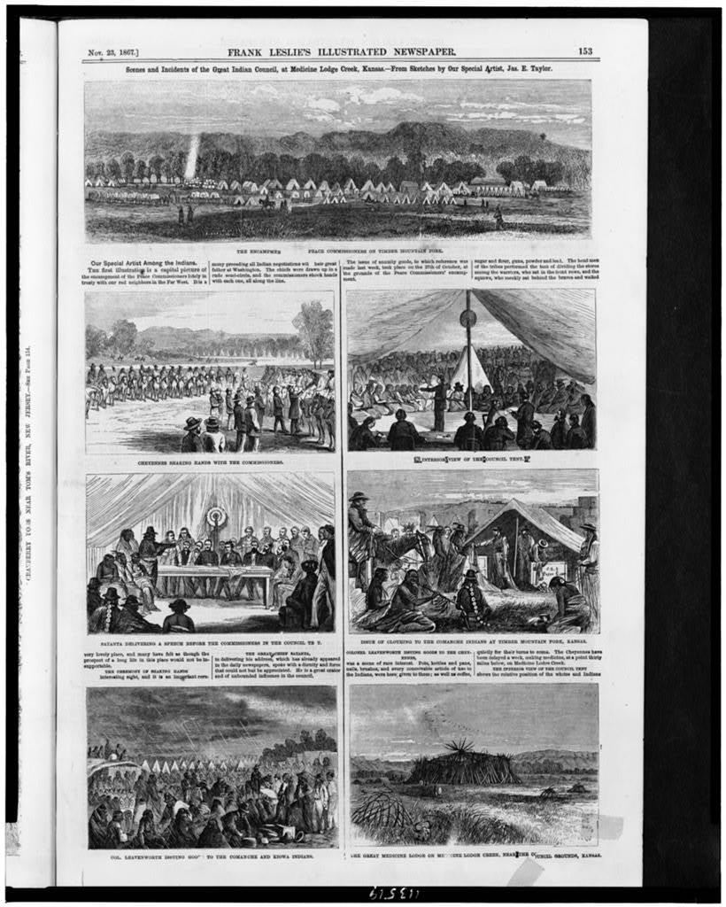 Scenes and incidents of the Great Indian Council, at Medicine Lodge Creek, Kansas / from sketches by our special artist, Jas. E. Taylor.