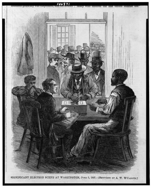 Significant election scene at Washington, June 3, 1867 / sketched by A.W. M'Callum.
