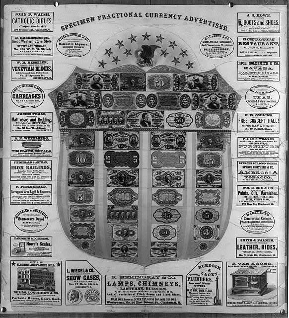 Specimen fractional currency advertiser
