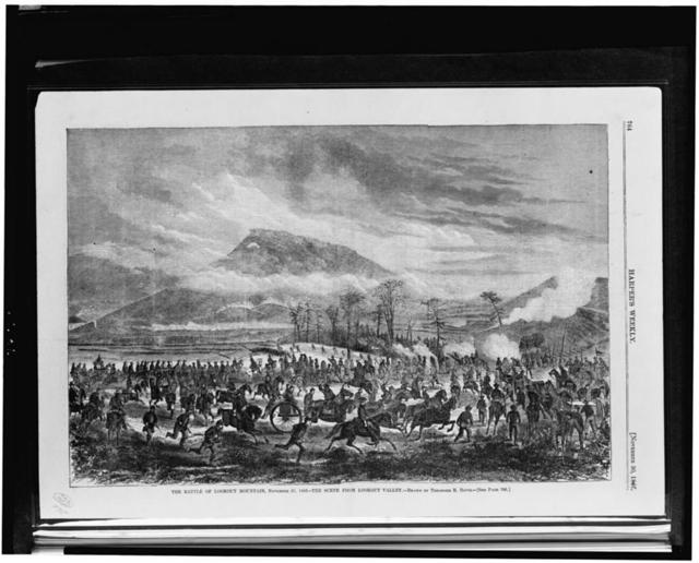The Battle of Lookout Mountain, November 25, 1863 - the scene from Lookout Valley / drawn by Theodore R. Davis.