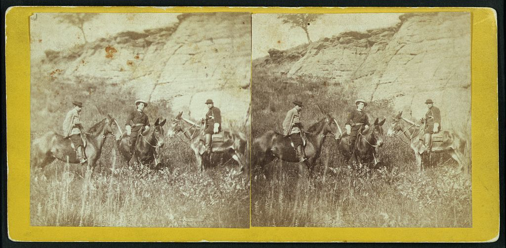 The escort at Indian cave on Mulberry Creek, Kansas, 11 miles north east of Fort Harker & 494 miles west of St. Louis, Mo.