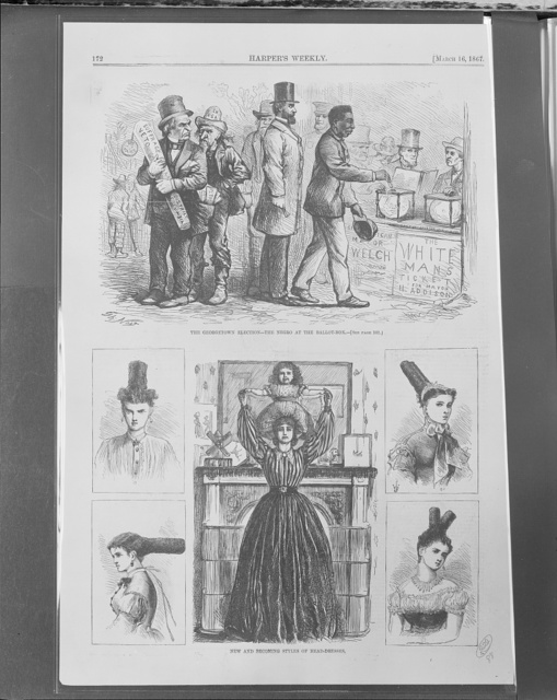 The Georgetown elections - the Negro at the ballot-box / Th. Nast.  New and becoming styles of head-dressing.
