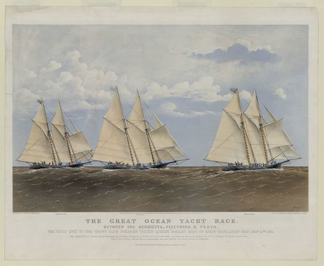"""The great ocean yacht race - between the Henrietta, Fleetwing & Vesta / Parsons ; sketched by Charles Parsons from the Yacht Club steamer """"River Queen""""."""