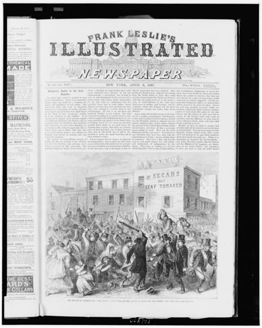 The riot on St. Patrick's Day - the attack on the police at the corner of Grand and Pitt Streets, New York City