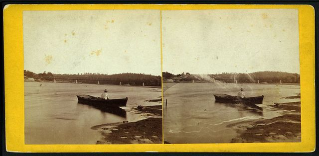 View on Kansas River at Turnpike Bridge near Wyandotte, Kansas, 287 miles west of St. Louis, Mo.