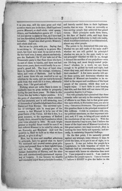 Address of Hon. Charles D. Drake, to the radical union men of Missouri. Washington, D. C., April 20, 1868. Printed at the Congressional globe office.