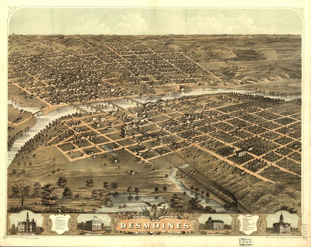 Bird's eye view of the city of Des Moines, the capital of Iowa 1868.