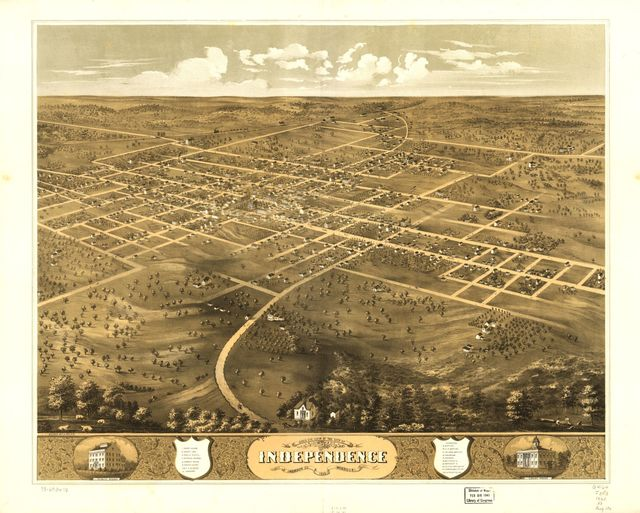 Bird's eye view of the city of Independence, Jackson Co., Missouri 1868.