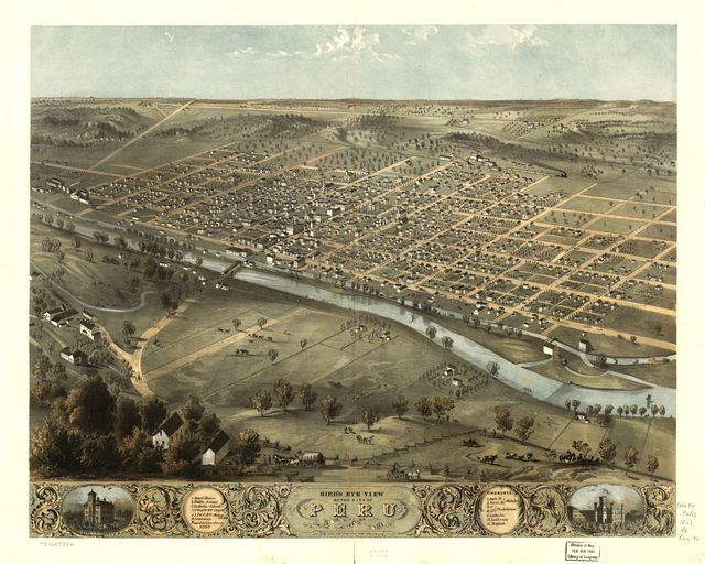 Bird's eye view of the city of Peru, Miami Co., Indiana 1868.