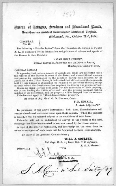 Circular No. 25. Richmond, Va. October 21st, 1868.